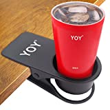 YOY Drinking Home Office Table Desk Side Huge Clip Water Drink Beverage Soda Coffee Mug Holder Cup Saucer Design, Black