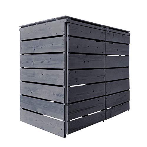 Fairpreis-design Mülltonnenbox Mülltonnenverkleidung Holz 120 L - 240 L anthrazit mit Rückwand vorimprägniert vormontiert Müllcontainer Mülltonnenschrank Mülltonne Alster (2 Tonnen)