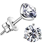 'STUNNING FLAME' 18K Gold Plated Silver Brilliant Cut Simulated Diamond CZ Stud Earrings (white-gold-plated-sterling-silver, 2.4)