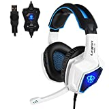 Anivia Auriculares para Juegos para PS4, Sonido Envolvente Auriculares para Juegos con micrófono sobre la Oreja, L10 USB Reducción de Ruido para PC Portátil Tableta portátil 【Blanco Azul Blue】