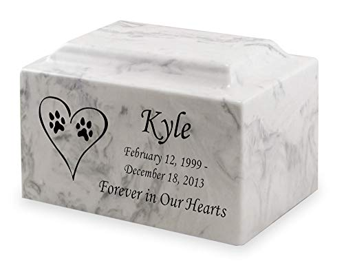 Carerra Dog Paw Prints in Heart Pet Cremation Urn...