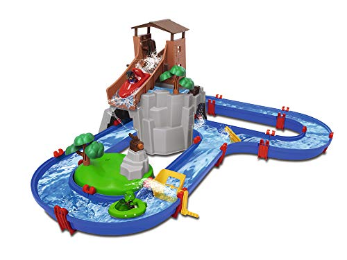BIG Spielwarenfabrik- Adventureland-Pista idrica con Montagna, Torre e stausee, Multicolore,...