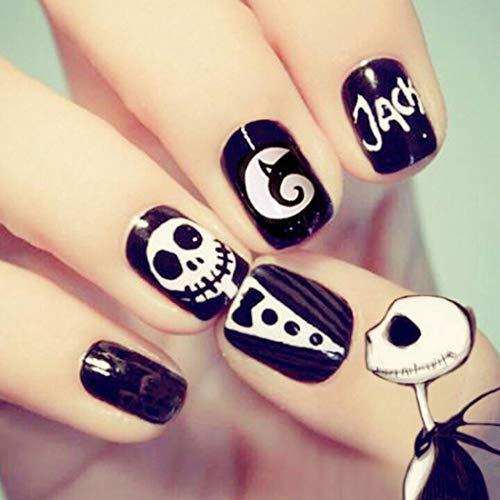 Dreamyn Press on Nails Short Square Fake Nails Halloween Skull False Nails Black for Women and Girls 24pcs