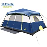 QOMOTOP 10 Person Fast 60 Seconds Easy Set Up Instant Cabin Tent, Camping Tent, Provide Top Rainfly, Waterproof Tent Advanced Venting Design, with Electrical Cord Access Port and Gate Mat
