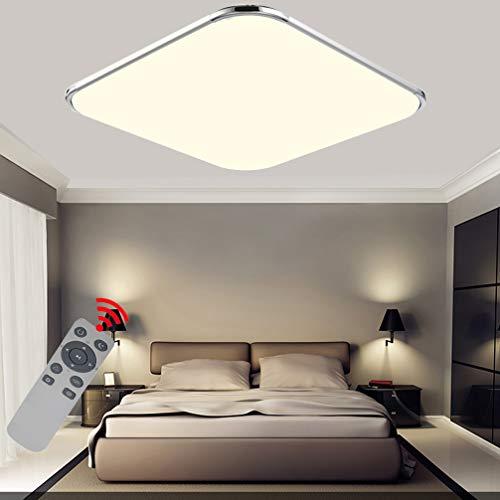 24W LED Dimmbar Mit FB Deckenleuchten Ultra dünn Modern Deckenlampe Flur Schlafzimmer Wohnzimmer Lampe Energiespar Licht Moderner minimalistischer Stil-Silberrahmen