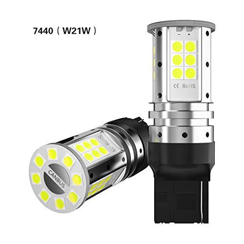 2pcs Lampadine W21W 7440 LED canbus no error PER Auto Invertendo La Luce Girare Segnale Freno Retromarcia Parcheggio Luci Posteriori Posizione Fanale Di Arresto Di Coda Lampadina T20 12V Bianco