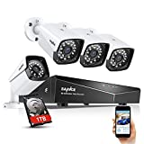 SANNCE 1080P xPOE Security Camera System with 1TB Hard Drive,4 Pcs 1920TVL Outdoor/Indoor CCTV Surveillance Cameras, Easy Installation, Real Plug & Play XPOE Network Home Video Surveillance System