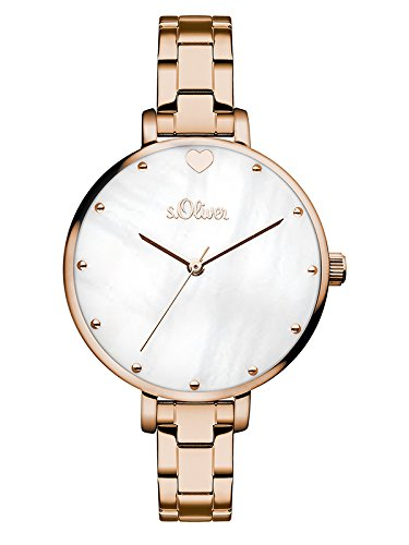 s.Oliver Damen Analog Quarz Armbanduhr mit Edelstahl Armband SO-3550-MQ