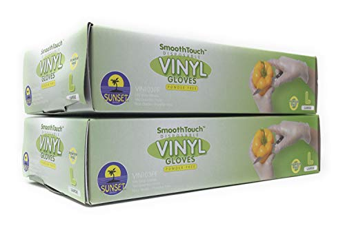 200 Disposable Viny Gloves, Non-Sterile, Poweder Free, Smooth Touch, Food Service Grade, X Large Size [2x100 Pack]