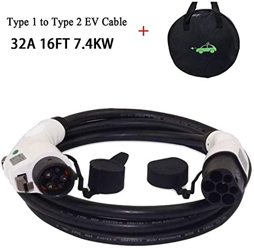Cable de carga K.H.O.N.S. - Tipo 1 a Tipo 2 - 32A - 7.2KW - 5 Metros