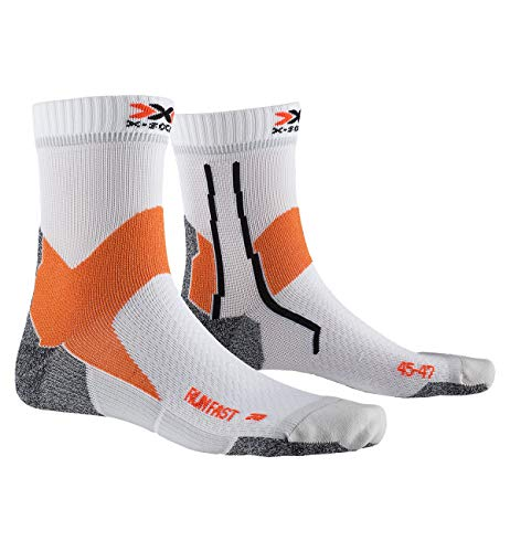 X-Socks Run Fast Socks, Calzini da Corsa Unisex-Adulto, Arctic White/Sunset Orange, 42-44