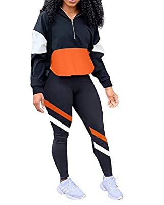 Material: Polyester+ Spandex, Classy high quality fabric, Stretchy, Very soft to touch and wear. Features: Long sleeve, Color block, Stripe, Zipper jacket, Elastic waist, High waist long pants, Casual fit, 2 piece Sets, Tracksuits, Sweatsuit. Occasio...