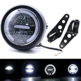 5.75 Inch Round Motorcycle LED Headlight with White Halo and Brackets Assembly - Universal Front Headlamp Features Distance Light High Low Beam Refit Headlight (White light)