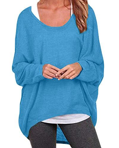 ZANZEA Damen Lose Asymmetrisch Jumper Sweatshirt Pullover Bluse Oberteile Oversize Tops Blau EU 42-44/Etikettgröße L