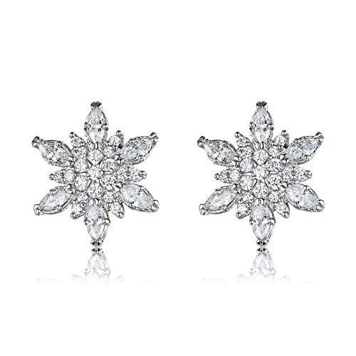 Earrings Hoops Studs Ear Nails Small White Snowflake Stud Earrings for Women 925 Silver Filled Pave Zircon Crystal Earring Studs Female Cz