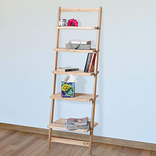 Book Shelf for Living Room, Bathroom, and Kitchen Shelving, Home Décor by Lavish Home- 5-Tier Decorative Leaning...