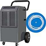 hOmeLabs Commercial Grade 140 Pint Dehumidifier - Built-In Pump, Includes Drain Hose and Washable Filter - Ideal for Large Basements, Industrial or Commercial Spaces and Job Sites