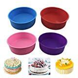 4 Pack Round Cake Pans, Silicone Cake Molds for Baking, 6.5 Inch Non-Stick Baking Mold for Baking Layer Cake, Birthday Cake, Cheese Cake and Coffee Cake