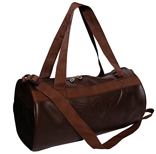 AUXTER Brown Leatherette Gym Bag Duffel Bag Shoulder Bag for Men & Women Emboss Logo (Brown)