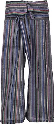 Guru-Shop, Pantaloni da Pescatore Thailandesi in Cotone Fine Tessuto a Righe, Pantaloni a Portafoglio, Pantaloni da Yoga, L/XL Grigio7 Colori, Dimensione Indumenti:One Size