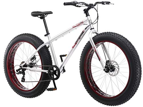 Mongoose Malus Adult Fat Tire Mountain Bike, 26-Inch Wheels, 7-Speed, Twist Shifters, Steel Frame, Mechanical Disc Brakes, Silver with Red Rims