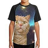 ボーイ 半袖 吸水速乾 無地 シンプル おしゃれ 宇宙 猫 3D 少年Tシャツ スタイリッシュ おもしろ デザイン 高校生用 …