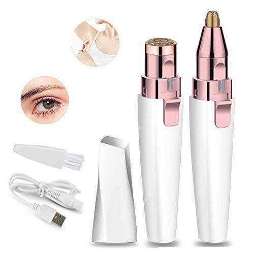 BEENLE - Trimmer per sopracciglia e rimozione dei peli del viso, 2 in 1, per la rimozione dei peli del viso, con epilatore delle sopracciglia, rasoio senza dolore con luce LED integrata