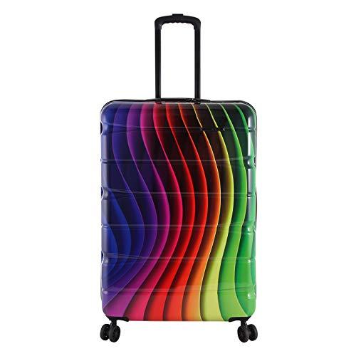 Rada Aero Vortex Reisekoffer, Hartschale aus ABS, klein, mittel, groß, Kofferset, Trolley mit Motiv, TSA-Schloss und 4 Rollen (Rainbow, L   76 cm)