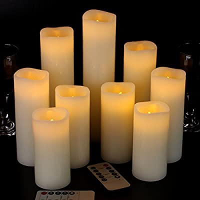 """ENERGY SAVING, POWERFUL LEDS: This value pack includes two 4"""" pillars, two 5"""" pillar, two 6"""" pillar , a 7"""" pillar,a 8"""" pillar, a 9"""" pillar,(each 2.2"""" diameter) candle, remote control x 2. Manual x1. This flameless candle is operated by 2 x AA batteri..."""