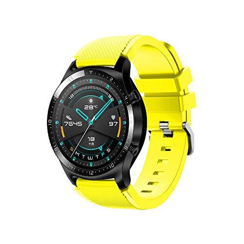 Pulseira de relógio de silicone Docooler de 22 mm, pulseira de reposição para relógio com fivela listrada Superfície compatível com Huawei Watch GT 2 46 mm / Honor MagicWatch 2 46 mm