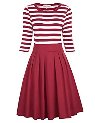 Style: Vintage Navy Style with Stripe Pattern; Simple but elegant Features: Concealed Zipper in the left side; Pleated Skirt; Scoop Neck The striped top is super soft, light weight and totally stretchy, it gives you a very slimming feel. The skirt is...