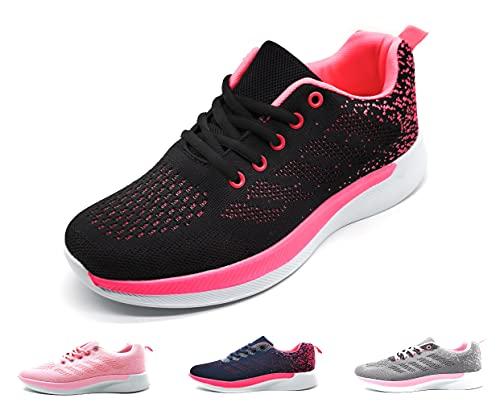 Zapatillas Deportivas Mujer Running Ligero Malla Transpirable con Cordones Zapatillas de Deporte para Mujeres Fitness Correr Atletismo Caminar Andar Gimnasia Negro 38