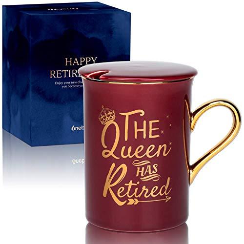 Mejores Regalos de Jubilación Únicos para Mujeres – Taza de Café de 300ml con Tapa – Regalos para Retirados para Madre,Hermana,Abuela,Amigas,Maestra,Jefa,Compañeras de Trabajo,Taza de Retiro (Roja)