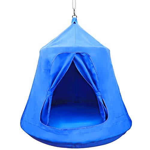 MIMIEYES Hängemattenschaukel Wasserdichtes Hängezelt mit LED-Leuchten Maximale Belastung 330 lbs (grün)