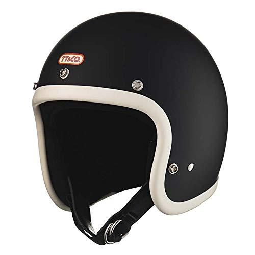 TT&CO. スーパーマグナム アイボリーラバートリム マットブラック 乗車用 SG/PSC/DOT規格品 ジェットヘルメット