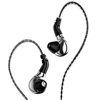 HiFiHear BLON BL-03 in Ear Earphone,10mm Carbon Diaphragm Dynamic Drive Bass HiFi DJ in Ear Monitor, Diamond Mirror Process in Ear Headphone with 2pins Detachable Cable Wired Earphone (Slive No Mic)