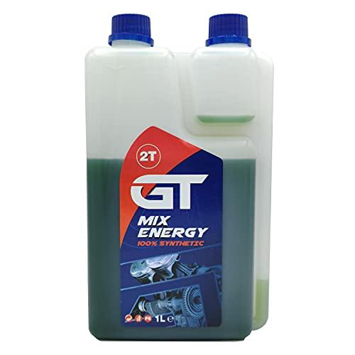 GT Olio Per Miscela 2 Tempi 1LT - 100% Sintetico, Con Dosatore, Scooter, Motoslitte, Motori Marini, Motoseghe, Tagliaerba, Decespugliatori, Motozappe