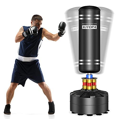 Kitopa - Saco de boxeo de suelo para adultos y jóvenes, saco de boxeo para patadas, puñetazos, kick-boxing, etc., base con ventosas, 82,6 kg como máximo, color negro