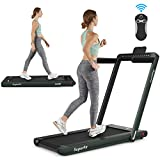 Goplus 2 in 1 Folding Treadmill with Dual Display, 2.25HP Under Desk Electric Pad Treadmill,...