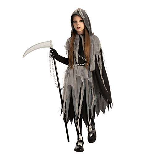 Grim Reaper Girl Costume Glow in The Dark for Halloween (Large(10-12 yr)) Black