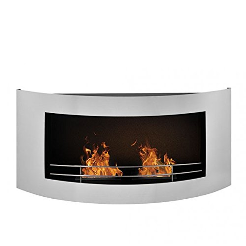 Wall Mounted Bioethanol Fire in Stainless Steel, Curved Design, Two Burners, Adjustable Flame, Long Burning Time, Elegant