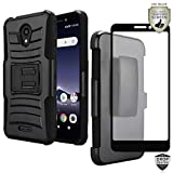 MyFavCell Compatible Holster Case for Alcatel TCL A1 4G Case 5' A501DL, Alcatel Insight, with [HD Tempered Glass Screen Protector], Ultra Tough Premium Holster with Kickstand [Shockproof] [Armor]