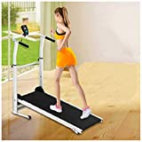 High Performance Cardio Trainer, Manual Portable Treadmill with Heavy Duty Designed Dual Flywheels Folding Manual Treadmill Working Machine Cardio Fitness Exercise Incline Home