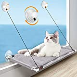 pueikai Cat Hammock, Cat Window Perch for Indoor Large Cats, Cat Resting Seat Hammock Shelves, Sturdy Heavy-Duty Knob Suction Cups Holds Up to Weighted up to 50 lbs, Space-Saving & Easy to Assemble