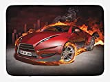 Cars Bath Mat, Red Sports Car Burnout Tires in Flames Blazing Engine Hot Fire Smoke Automobile, Plush Bathroom Decor Mat with Non Slip Backing, 15.7X23.6 inch, Red Black Orange