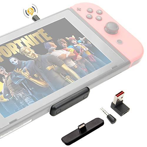 GULIkit Adaptador de Audio Bluetooth para Switch/Switch Lite, PS4, PS5, PC, Route Air Pro, aptX de Baja Latencia, Micrófono para Chat de Voz en el Juego Fortnite (Negro, Negra)