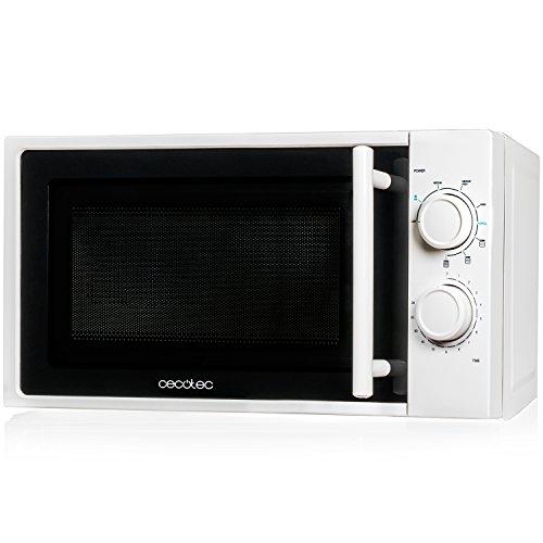 Cecotec Microondas White con Grill. Capacidad de 20l, 700 W de Potencia, grill de 900W, 9 Niveles Funcionamiento, Temporizador 30 min, Modo Descongelar, Acabado Blanco, 45.5 x 36 x 26 cm