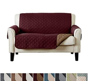 Home Fashion Designs Reversible Loveseat Protector. Furniture Protector for Living Room with Secure Straps. Furniture Protectors for Kids, Dogs and Pets. (54' Love Seat, Burgundy/Taupe)