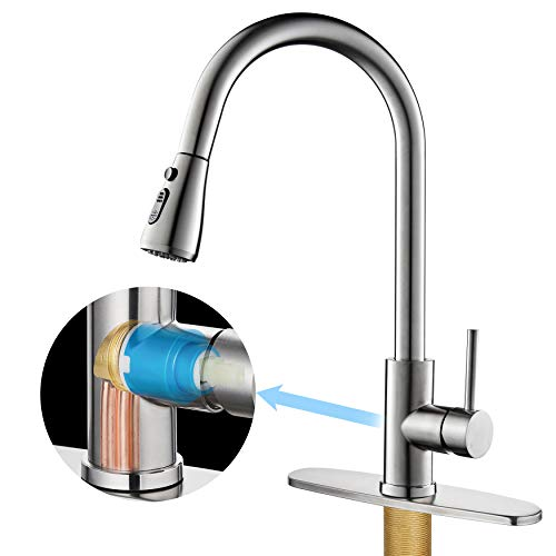 Kitchen Faucet with Pull Down Sprayer, Single Handle High Arc Stainless Steel and Solid Brass Main Body Kitchen...