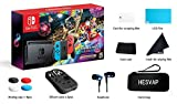 Nintendo Switch - Mario Kart 8 Deluxe Blue & Red Joy-Con Consoles W/ 69 Value 13 in 1 Supper Carrying Case (Earphone, LCD film, Card Case, Silicon Case x 2pcs, Carry Bag, Wiping cloth etc.)